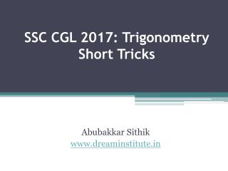 SSC CGL 2017 Trigonometry Short Tricks