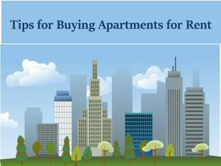Tips for Buying Apartments for Rent