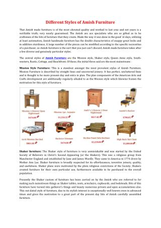 Different Styles of Amish Furniture