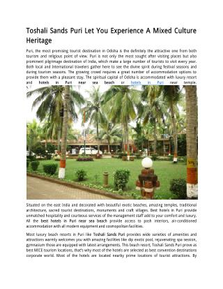 Toshali Sands Puri Let You Experience A Mixed Culture Heritage
