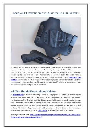 Keep your Firearms Safe with Concealed Gun Holsters