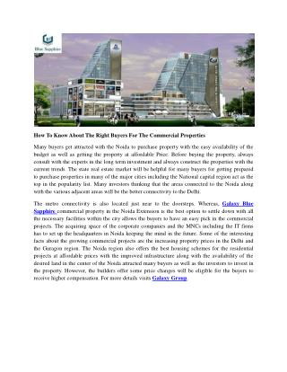 How To Know About The Right Buyers For The Commercial Properties