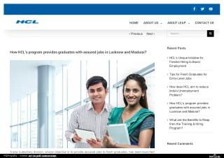 How HCL's program provides graduates with assured jobs in Lucknow and Madurai