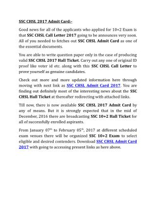 SSC CHSL 2017 Admit Card, SSC CHSL Hall Ticket Online
