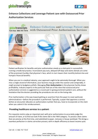 Enhance Collections and Leverage Patient care with Outsourced Prior Authorization