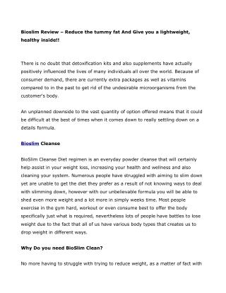 Bioslim – Read Ingredients And Side Effects!!