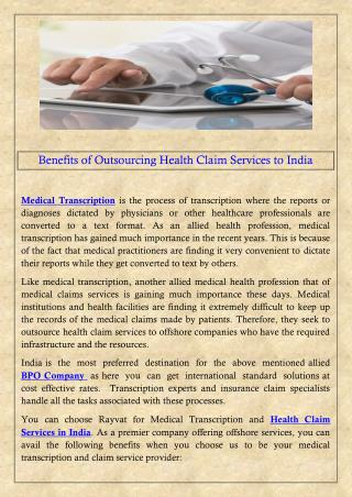 Benefits of Outsourcing Health Claim Services to India