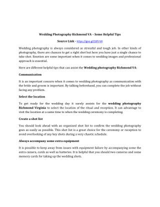 Wedding Photography Richmond VA – Some Helpful Tips