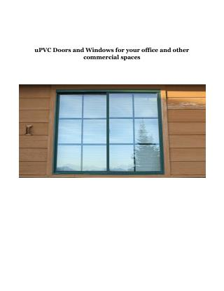 uPVC Doors and Windows for your office and other commercial spaces