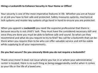 Hiring a Locksmith to Enhance Security in Your Home or Office!