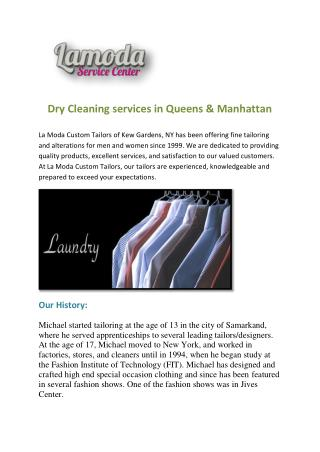 Dry Cleaning services in Queens & Manhattan