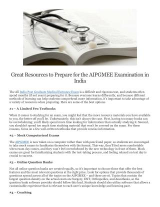 Great Resources to Prepare for the AIPGMEE Examination in India