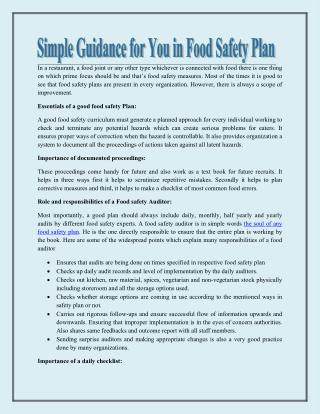Simple Guidance for You in Food Safety Plan