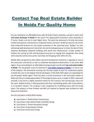 Contact Top Real Estate Builder In Noida For Quality Home