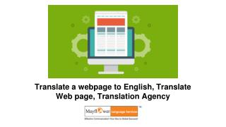 Translate a webpage to English, Translate Web page, Translation Agency