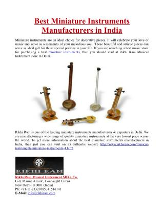 Best Miniature Instruments Manufacturers in India