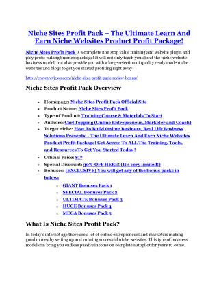 Niche Sites Profit Pack review and (MEGA) bonuses – Niche Sites Profit Pack