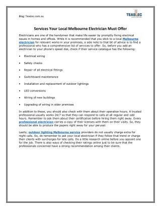 Read Services Your Local Melbourne Electrician Must Offer