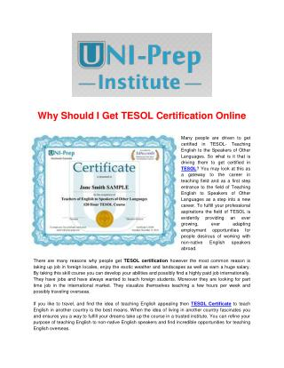 Why Should I Get TESOL Certification Online