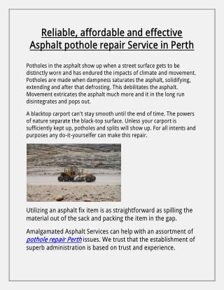 Asphalt pothole repairs service in Perth