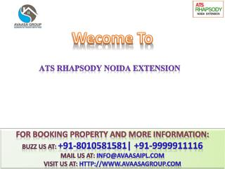 ATS Rhapsody @# 91-9999911116 #@ 3 BHK Flats in Noida