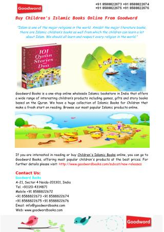 Buy Children's Islamic Books Online From Goodword