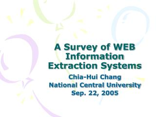 A Survey of WEB Information Extraction Systems