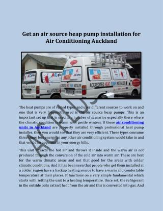 Get an air source heap pump installation for Air Conditioning Auckland