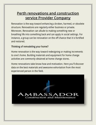 Perth renovations and construction service Provider Company