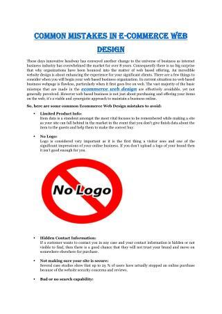 Common Mistakes in E-Commerce Web Design
