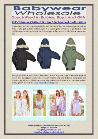 Kid's Wholesale Clothing UK – Buy Affordable And Quality Attires