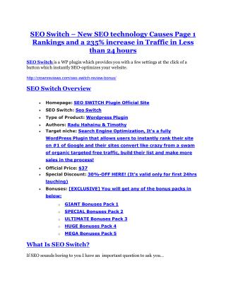 SEO Switch REVIEW and GIANT $21600 bonuses