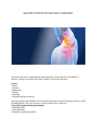 ayurvedic treatment for back pain in hyderabad