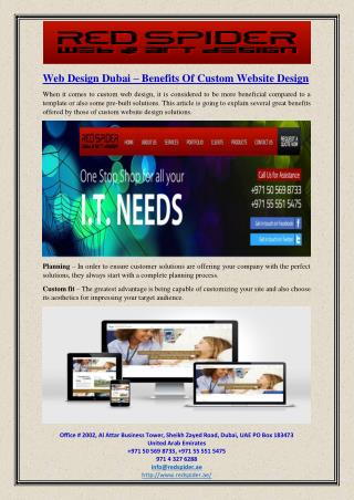 Web Design Dubai – Benefits Of Custom Website Design
