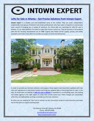 Lofts for Sale in Atlanta – Get Precise Solutions from Intown Expert