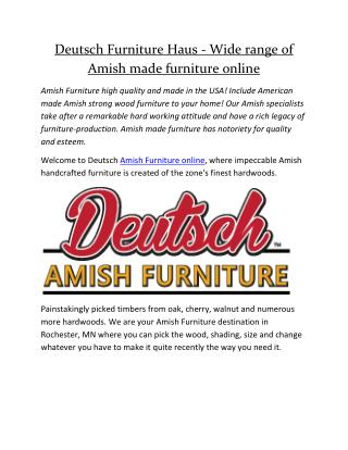Deutsch Furniture Haus - Wide range of Amish made furniture online