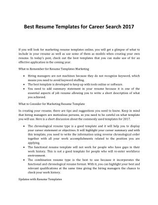 What Are the Best Resume Templates for Career Search 2017?