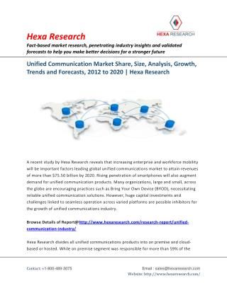 Unified Communication Market Size, Share, Growth, Industry Analysis and Forecast to 2020 - Hexa Research