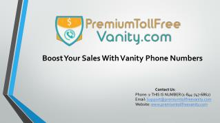 What is Toll Free Vanity Number