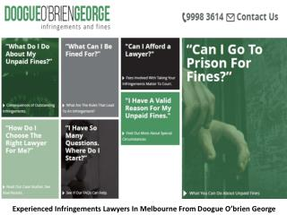 Experienced Infringements Lawyers In Melbourne From Doogue O'brien George