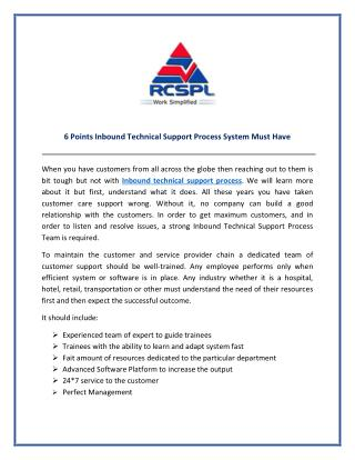 Get Best Services Inbound Technical Support from RCSPL