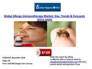 Worldwide Allergy Immunotherapy Market Analysis 2016