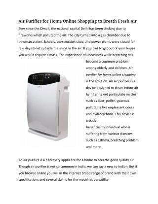 Air Purifier for Home Online Shopping to Breath Fresh Air