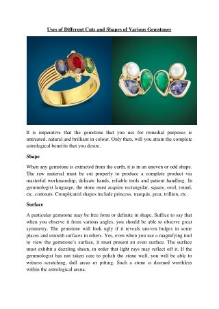 Uses of Different Cuts and Shapes of Various Gemstones