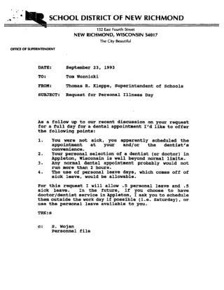 Correspondence re: Thomas Woznicki Personal and Sick Leave (New Richmond)