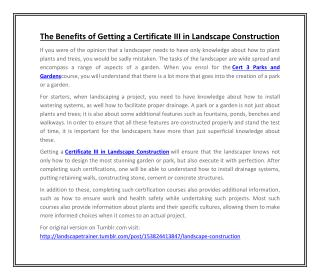 The Benefits of Getting a Certificate III in Landscape Construction