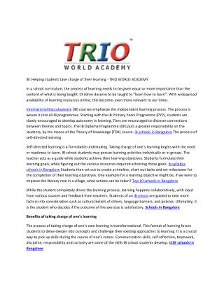 IB: Helping students take charge of their learning - TRIO WORLD ACADEMY