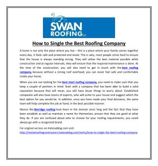 How to Single the Best Roofing Company