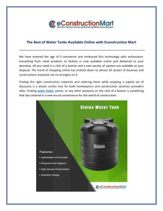 Buy Best Brands Water Tank Available Online with Econstruction Mart