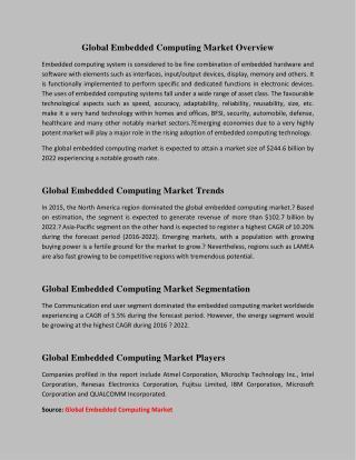 Global Embedded Computing Market